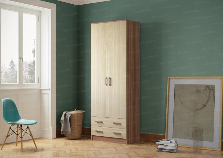 Шкаф 2-х дверный с выдвижными ящиками Ясень шимо