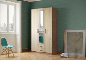 Фото  Шкаф 3-х дверный с выдвижными ящиками и зеркалом.  Ясень шимо темный/светлый.