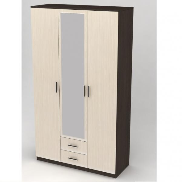 Шкаф 3-х дверный с выдвижными ящиками и зеркалом дуб вене/сосна лоредо