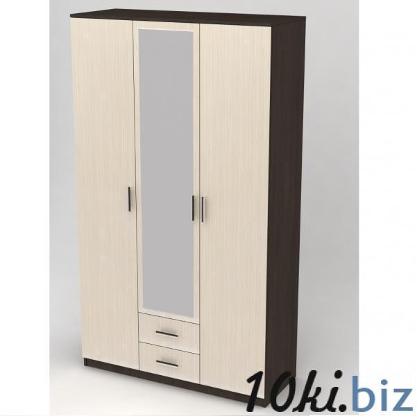 Шкафы для спальни - Шкаф 3-х дверный с выдвижными ящиками и зеркалом дуб вене/сосна лоредо