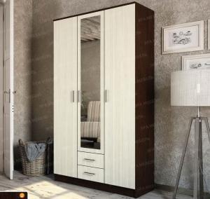 Фото  Шкаф 3-х дверный с выдвижными ящиками и зеркалом дуб вене/сосна лоредо