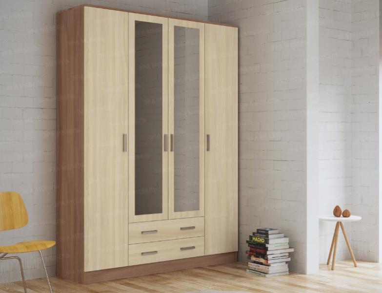 Шкаф 4-х дверный с выдвижными ящиками и зеркалами. ясень шимо светлый/тёмный