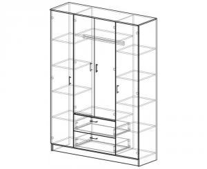 Фото  Шкаф 4-х дверный с выдвижными ящиками и зеркалами. ясень шимо светлый/тёмный