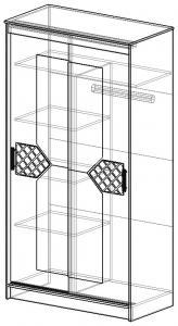 Фото  Шкаф-купе с зеркалами в центральном отсеке и декором.Ясень шимо светлый/лиственница тёмная