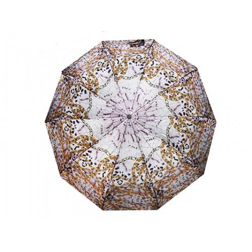 Женский зонт полуавтомат 3 сложения Tornado Артикул 21S леопард белый