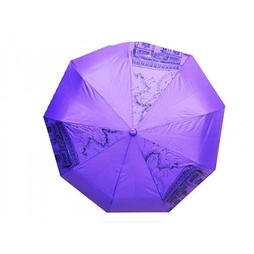 Женский зонт полуавтомат 3 сложения Tornado Артикул 57 фиолетовый карта