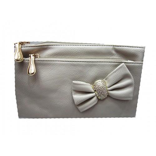Женская сумка клатч Артикул 150 серый бант