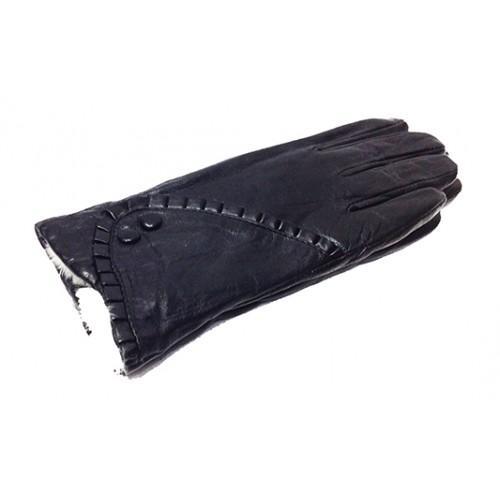 Женские перчатки кожа Зимушка Артикул P- 125 мод №7 черные мех кролик