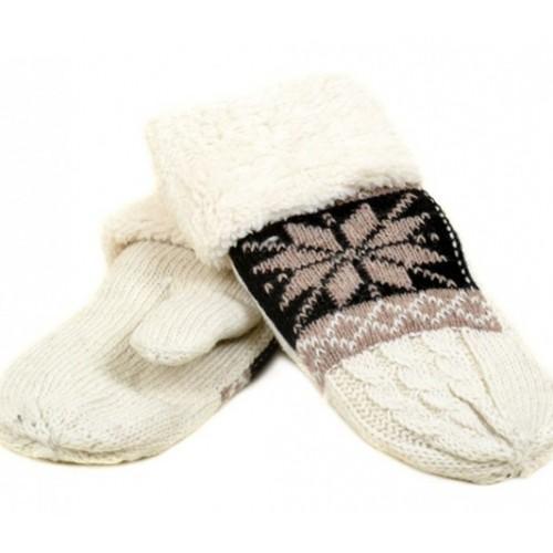 Женские перчатки-варежки вязка Мари Fashion Артикул К 275-В белые