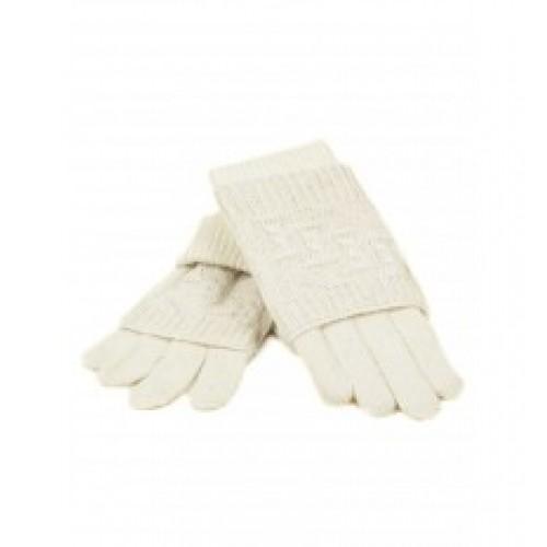 Женские перчатки-варежки вязка Мари Fashion Артикул К 53-В белые