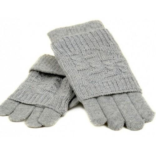 Женские перчатки-варежки вязка Мари Fashion Артикул К 53-В серые