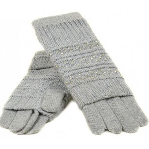 Женские перчатки-варежки вязка Мари Fashion Артикул К 308-В серые