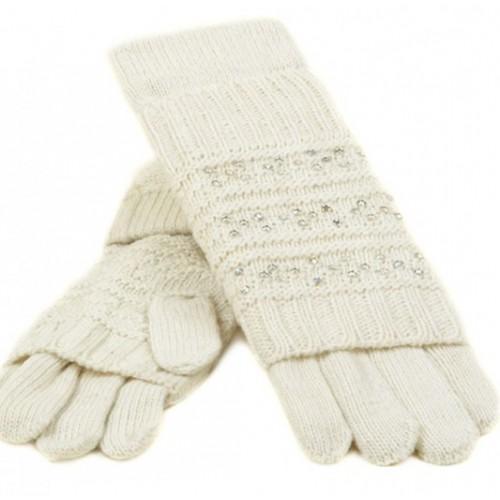 Женские перчатки-варежки вязка Мари Fashion Артикул К 58-В белые