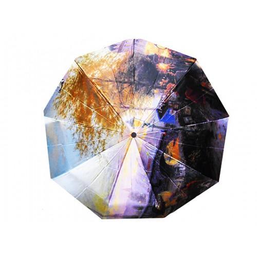 Женский зонт Tornado автомат Артикул 41 фиолетовый город