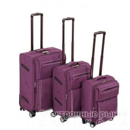 Набор чемоданов 3 в 1 на 4-х колесах замок код Артикул 104 фиолетовый - Дорожные сумки и чемоданы на рынке Барабашова