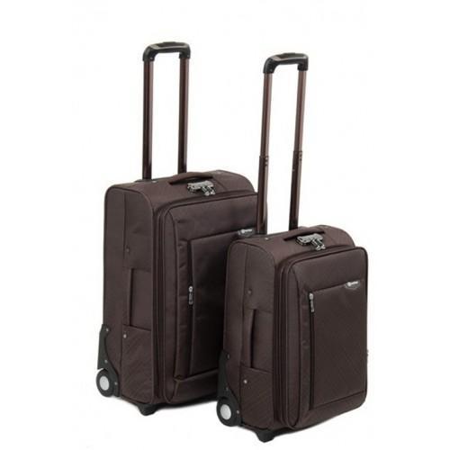Набор чемоданов 2 в 1 на 4-х колесах замок код Артикул 104 коричневый