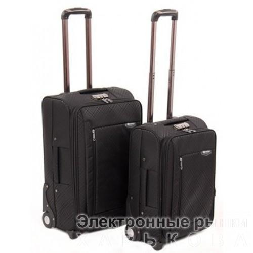 Набор чемоданов 2 в 1 на 4-х колесах замок код Артикул 104 черный - Дорожные сумки и чемоданы на рынке Барабашова