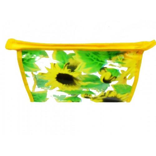 Женская прозрачная косметичка Артикул 070 цветы желтая кайма