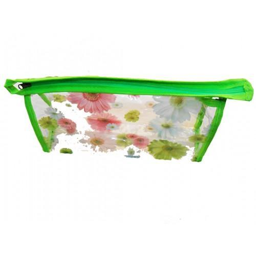 Женская прозрачная косметичка Артикул 070 цветы зеленая кайма