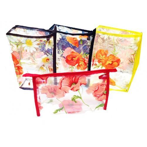 Женская прозрачная косметичка Артикул 070 цветы маки