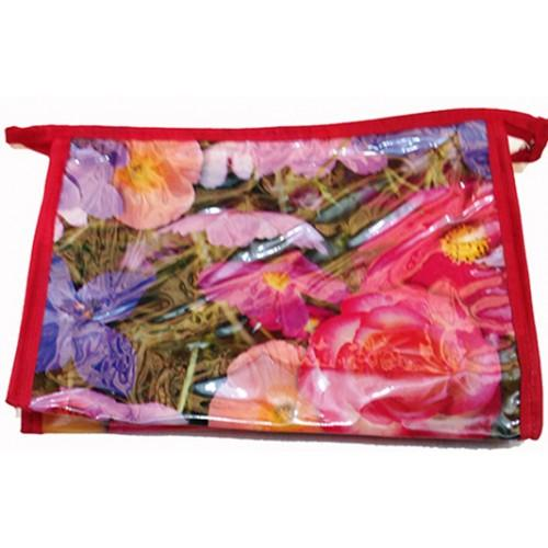 Женская прозрачная косметичка Артикул 070 цветы красная кайма