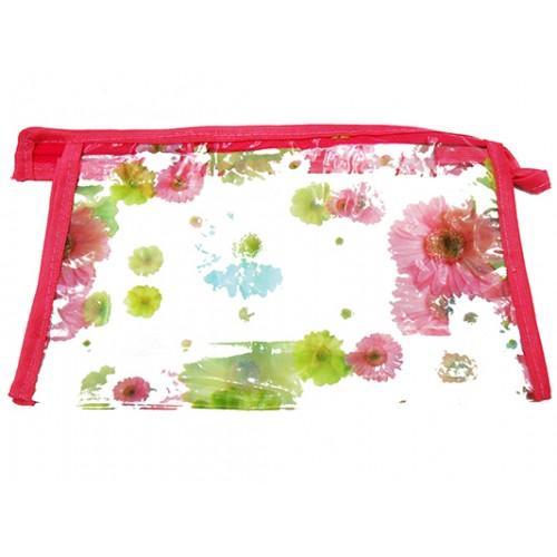 Женская прозрачная косметичка Артикул 070 цветы розовая кайма