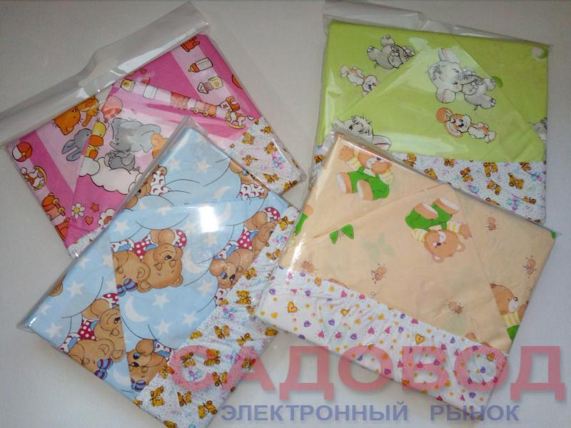 Комплект постельного белья с трикотажной простыней на резинке в детскую кроватку