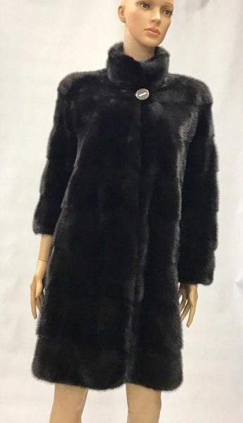 Шуба из скандинавской норки с капюшоном