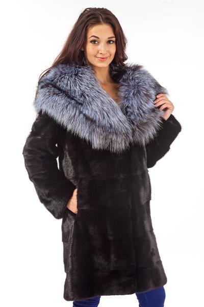Фото Шубы из норки Норка скандинавская, поперечка, капюшон чернобурка