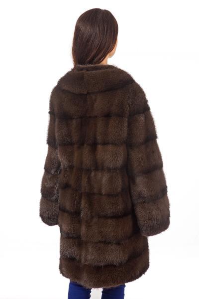 Фото Шубы из норки норка скандинавская, цвет соболиный с подпалинами