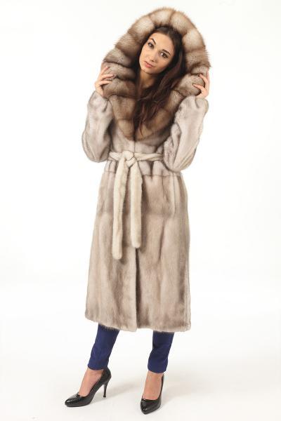 Фото Шубы из норки норка канадская, капюшон соболь