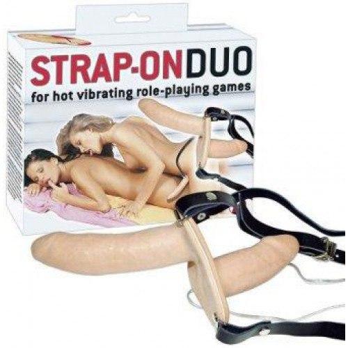 Двухсторонний страпон с вибрацией Strap-on duo  Y2T_0567159