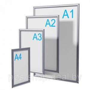 Фото Алюминиевые клик-рамы Алюминиевая клик-рамка формата А3 (острые углы)