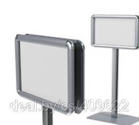 Фото Стенды из алюминиевых клик-рамок Стойка двусторонняя с двумя клик-рамками А4, А3