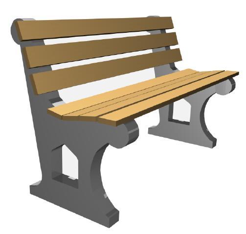 Скамейка с бетонным основанием А-4