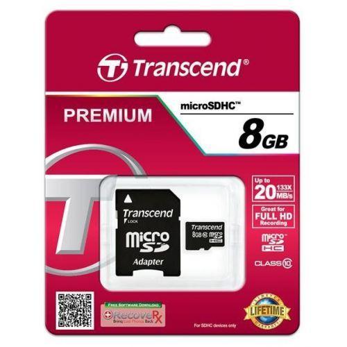 TRANSCEND microSDHC 8 GB Class 10 + SD adapter
