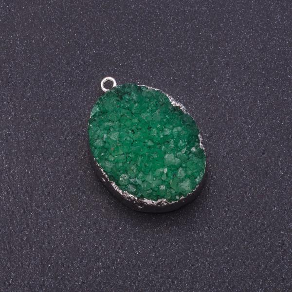 "Кулон Капля Агат друза ""снег"" зеленый серебристый металл 3,1х2,3см (+-)"