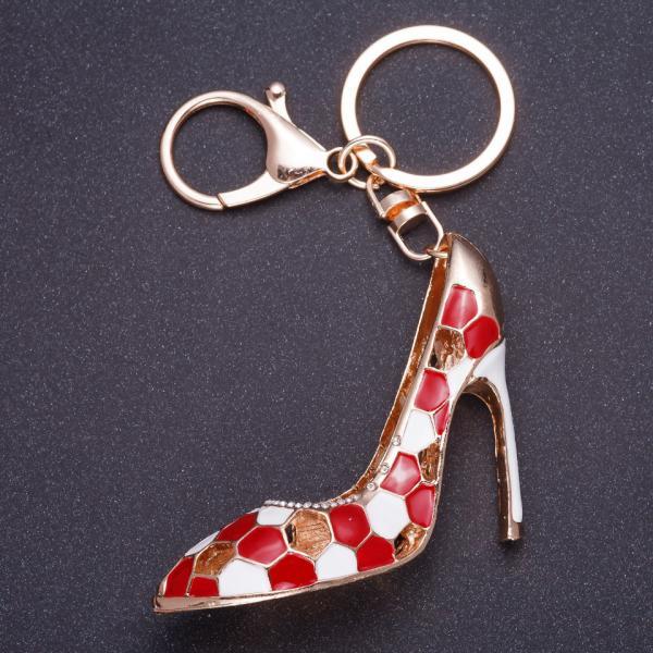 """Брелок """" Красная туфелька"""" 8х5см цвет металла золото, эмаль"""