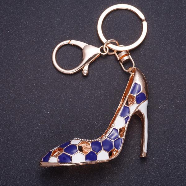 """Брелок """" Синяя туфелька"""" 8х5см цвет металла золото, эмаль"""