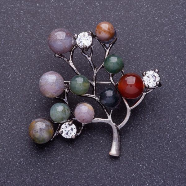 Брошь Яшмовое дерево 4,5х4,5см цвет металла серебро