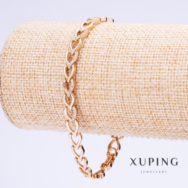 Браслет Xuping плетение Сердце L-17-19мм см s-8мм цвет золото с удлинителем