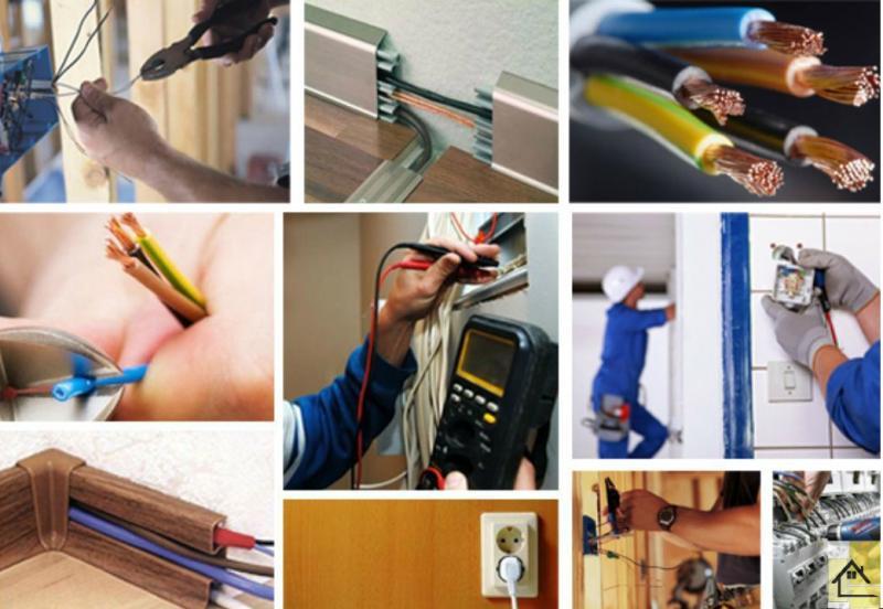 Выполнение работ связанных с электричеством (замена старой проводки, подключение электрооборудования, прокладка кабелей)