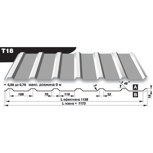 Профнастил стеновой Pruszynski T18 полиэстер 0,5*1173*9000 мм Германия (RAL9006/белый алюминий)