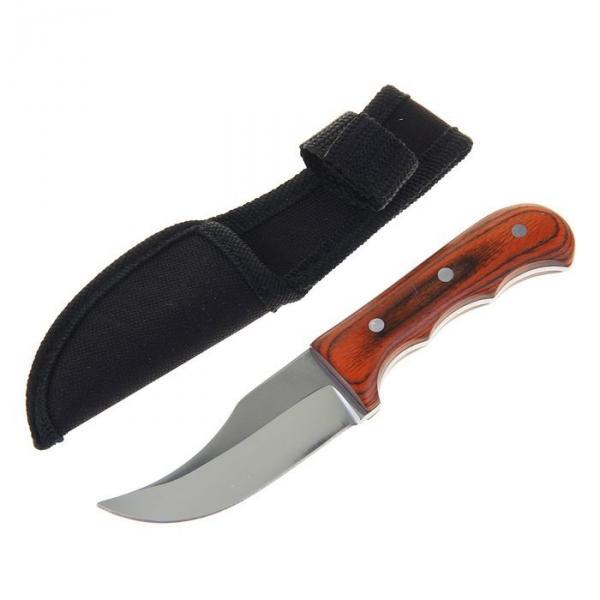 Нож нескладной, 16 см, в чехле, деревянная рукоять с выемками