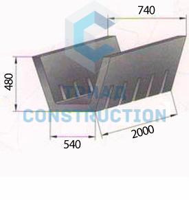 Арычный лоток Б-3 (длина 2,0 м, ширина 0,74 м, высота 0,48 м), СТ ТОО 40212232-03-2008