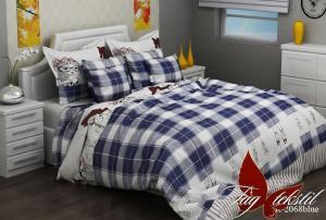 Фото ПОСТЕЛЬНОЕ БЕЛЬЕ ТМ TAG, евро, Ренфорс Комплект постельного белья R2068 blue