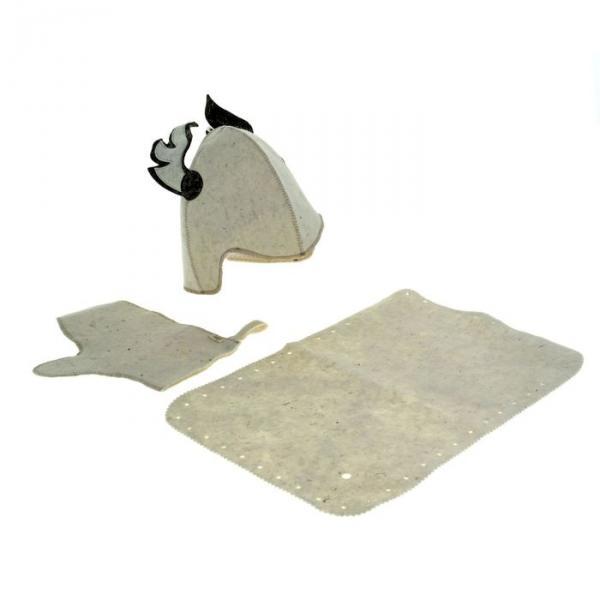 Набор для бани и сауны «Гермес»: шапка, рукавица, коврик, фетр, белый