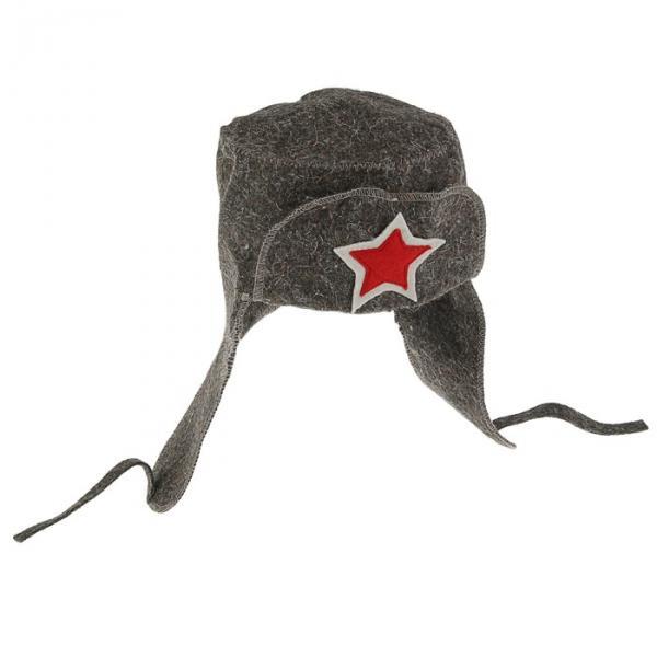 Банная шапка «Банная ушанка», войлок, серая, микс