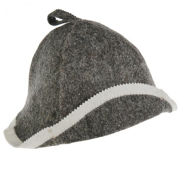 Банная шапка «Классическая с отворотом», войлок, серая