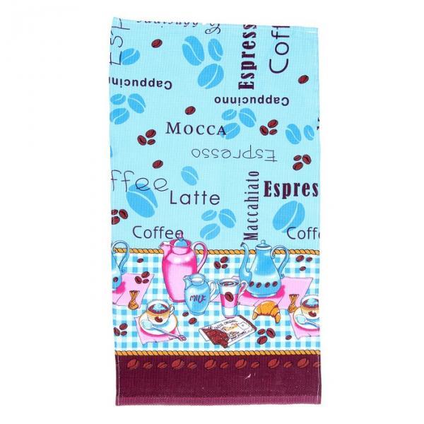 """Полотенце вафельное набивное """"Кофе"""", размер 40х75 см, 160 г/м?, цвет голубой"""